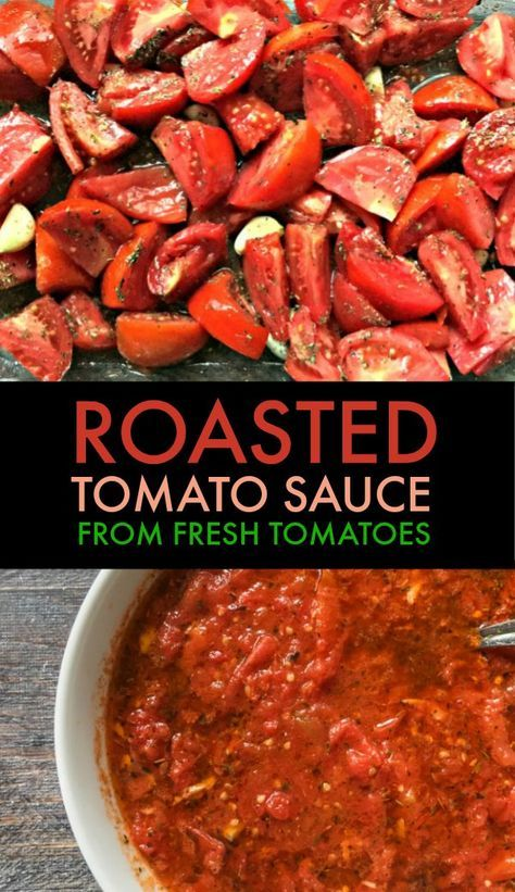 This roasted tomato sauce is perfect with fresh tomatoes from your garden. It is so delicious you won't buy jar sauce again and best of all it's easy! sauce recipes tomato Roasted Tomato Sauce Made from Fresh Tomatoes - Super Easy to Make! Fresh Tomato Recipes, Veggie Recipes, Vegetarian Recipes, Healthy Recipes, Canned Roasted Tomatoes Recipe, Pizza Sauce Recipe Fresh Tomatoes, Pasta With Fresh Tomatoes, Recipes For Tomatoes, Garden Tomato Recipes