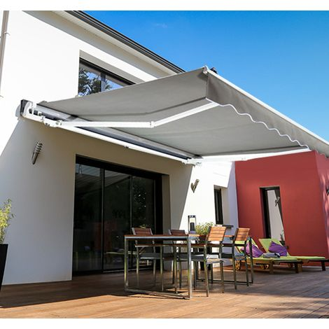 Outsunny 4 X 3m Garden Manual Awning Canopy Sunshade Retractable