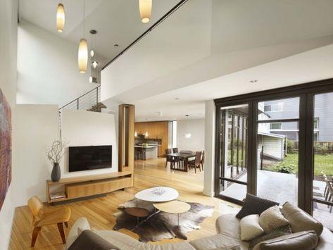 Retro-Wohnzimmer einrichtung Parkettboden-lack finish Komfortables - wohnzimmer mit glaswnde