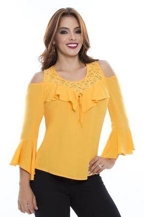 09a38a1a6 Blusa amarilla con mangas | Costura en 2019 | Blusas de moda, Blusas ...