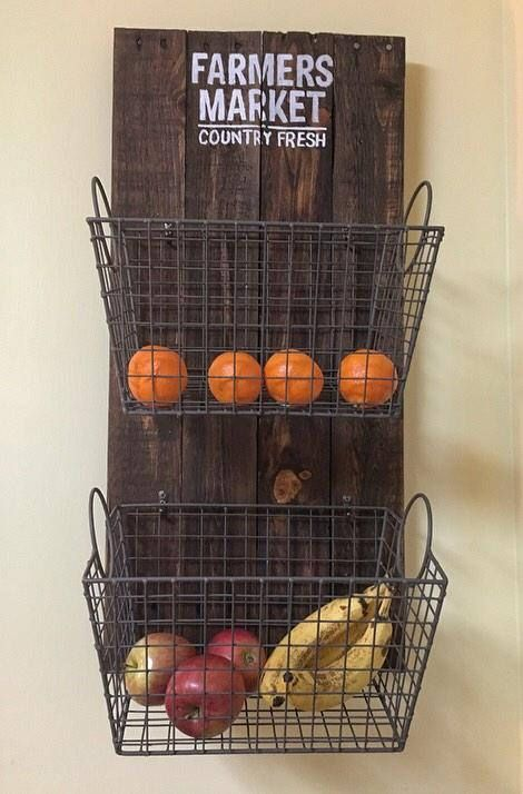 Items Similar To Custom Wall Decor Wall Hanging Reclaimed Real Wood Stained Fruit Vegetable Basket Holder Rack Kitchen Farmers Market On Etsy Custom Wall Decor Baskets On Wall Vegetable Basket