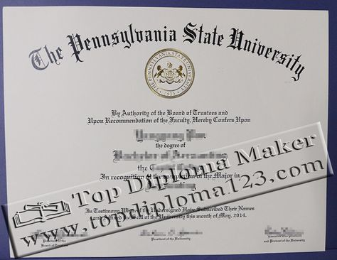 The Pennsylvania State University Bachelor Degree Penn State University Psu Diploma Pennsylvania State University University Diploma High School Diploma