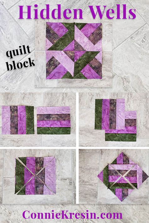 Quilt blocks - Hidden Wells Quilt Block made with 4 strips – Quilt blocks Strip Quilt Patterns, Jelly Roll Quilt Patterns, Patchwork Quilt Patterns, Strip Quilts, Patch Quilt, Easy Quilts, Applique Quilts, Pattern Blocks, Easy Quilt Patterns Free