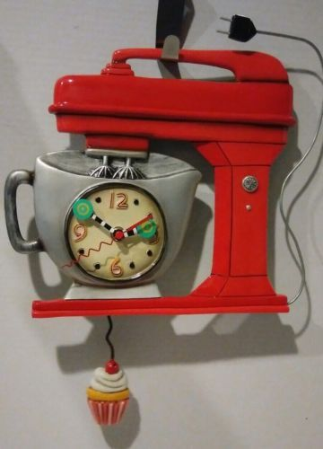 Novelty Wall Clock By Allen Designs Red Stand Up Mixer W Cupcake