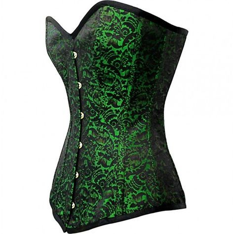 ee1c6511eb Green Brocade Sweetheart Overbust Corset ❤ liked on Polyvore featuring tops