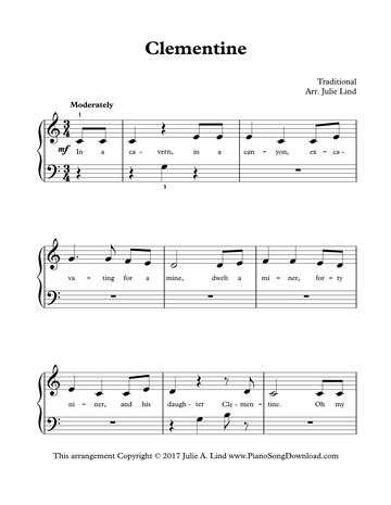 Clementine Easy Piano Sheet Music To Print Easy Piano Sheet