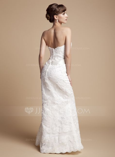 Trumpet/Mermaid Sweetheart Floor-Length Zipper Up Strapless Sleeveless Hall General Plus Yes Winter Ivory Lace Wedding Dress