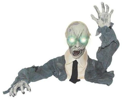 """Groundbreaker Zombie w LED Eyes"" Graveyard Halloween Prop"