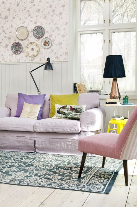Bohemian Chic Ektorp 2 seater sofa cover in Rosendal Pure Washed - ikea einrichtung ektorp