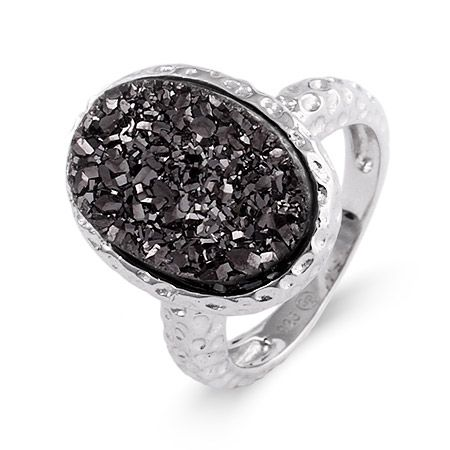 Capture the essence of night during the day with this sterling silver hammered design charcoal Drusy ring.