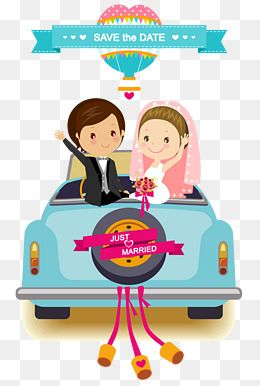 Cartoon Wedding Car Background Vector Material Cartoon Vector