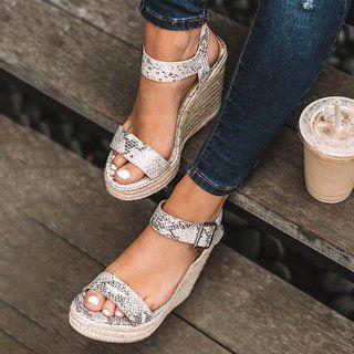 Femmes Été Espadrilles femme compensées à bride à la Cheville Sandales Gladiateur Chaussures Taille