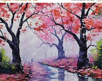 Oil Painting Tumut River Australia Landscape Painting By G Gercken Award Winning Artist Autumn Painting Pink Wall Art Art