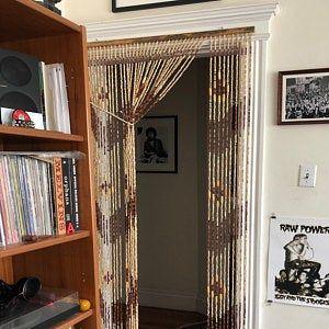 Hand Made Bamboo Wood Beaded Curtain Doorway Etsy In 2020 Beaded Curtains Beaded Curtains Doorway Doorway Curtain