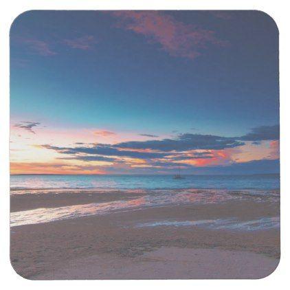 Spectacular Tropical Ocean Beach Sunset Square Paper Coaster Zazzle Com Beach Landscape Tropical Island Beach Beach Wallpaper