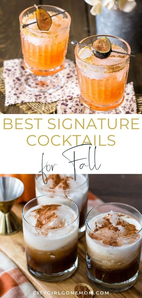 11 Fall-Themed Cocktails To Share This Season Signature Cocktails for Fall. These Autumn Drinks Alcohol Recipes let you dive headfirst into all things autumn! These easy fall cocktail recipes for your next big bash when you are mixing drinks for a crowd. Fall Mixed Drinks, Fall Drinks Alcohol, Tequila Mixed Drinks, Fall Cocktails, Drinks Alcohol Recipes, Fun Drinks, Fireball Recipes, Alcoholic Desserts, Cocktail Recipes For Fall