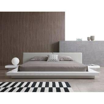 Noblitt Upholstered Platform Bed White Platform Bed Grey