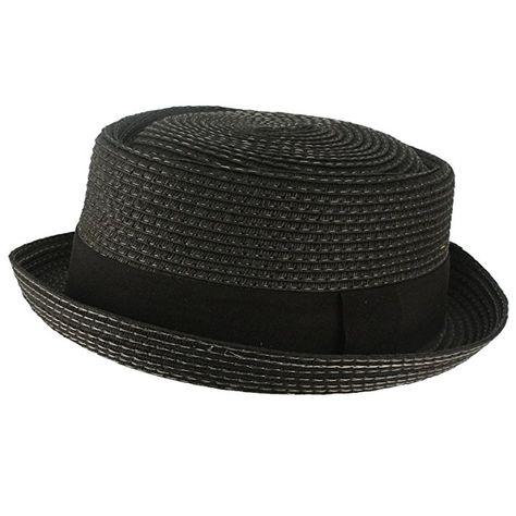 SK Hat shop Men s Cool Summer Straw Pork Pie Derby Fedora Upturn Brim Hat  Black 58cm L XL 8f36b822335