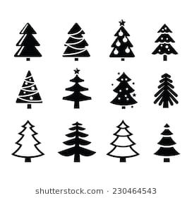Vector Black Christmas Tree Set On White Background Christmas