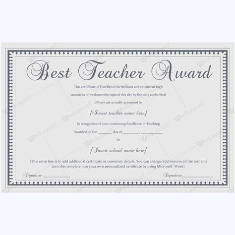 Formal Best Teacher Award Certificate Template #certificate - certificate of completion template word