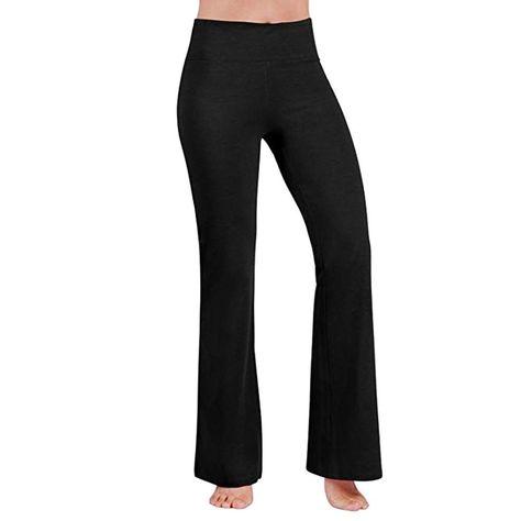 Transer Womens Baggy Yoga Pants High Waist Split Bootleg Trousers Flowy Loose Beach Leggings