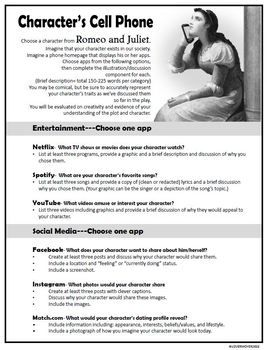 Romeo And Juliet Characterization Cell Phone Activity Fun And