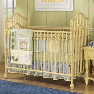 yellow metal crib. Love it