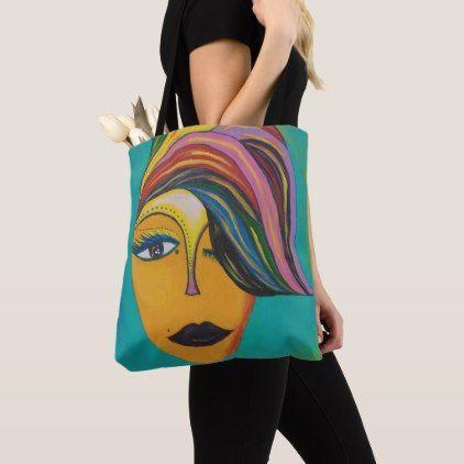 Original Artwork Acrylic Painting Female Face Tote Bag