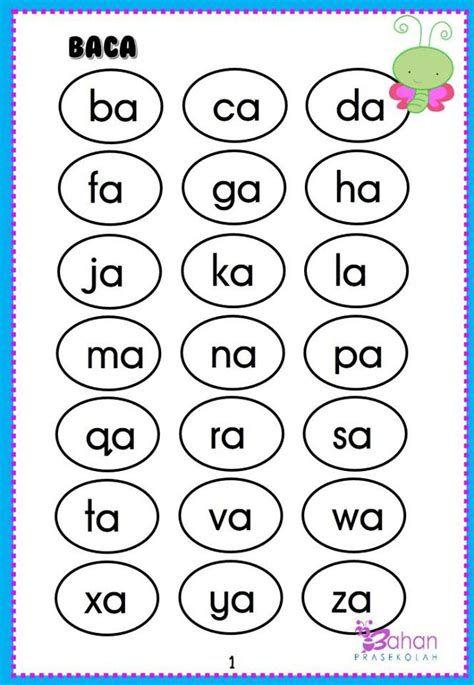 Carta Suku Kata Kv Preschool Learning Preschool Suku Kata Membaca Panduan Belajar