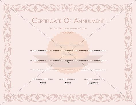 Printable Marriage Annulment Certificate Template - anniversary certificate template