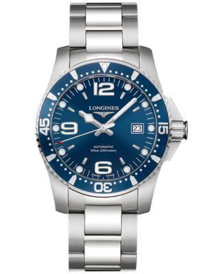 Longines Men's Swiss Automatic HydroConquest Stainless Steel Bracelet Watch 41mm | macys.com