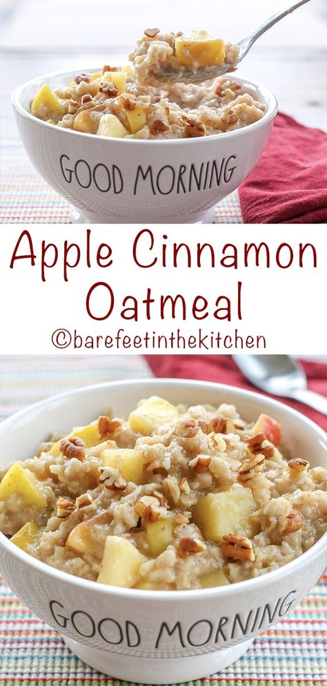 Apple Cinnamon Oatmeal is a favorite for all ages. It only takes a few minutes to get this deliciously hearty breakfast on the table! get the recipe at barefeetinthekitchen.com