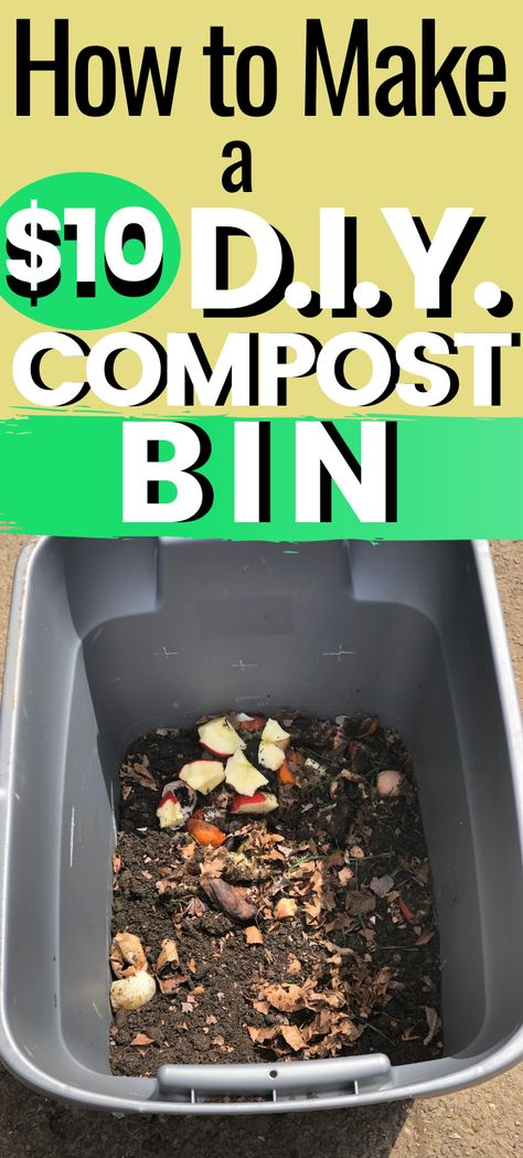 How to Make a DIY Compost Bin - You don't need to spend tons of money on a co. How to Make a DIY C How To Start Composting, Composting At Home, How To Make Compost, Worm Composting, Composting Toilet, Best Compost Bin, Making A Compost Bin, Gardening For Beginners, Gardening Tips
