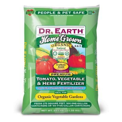 Dr Earth 25 Lb Organic Home Grown Tomato Vegetable Herb Fertilizer 733 The Home Depot Organic Fruit Trees Fruit Trees Organic Plant Food