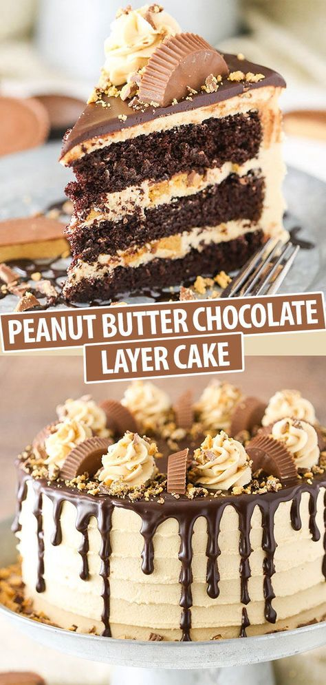 chocolate peanut butter cake This Peanut Butter Chocolate Layer Cake is made with layers of moist chocolate cake, peanut butter frosting and chopped Reeses peanut butter cups! Its rich, delicious and so fun! Peanut Butter Desserts, Köstliche Desserts, Delicious Desserts, Peanut Cake, Reese Peanut Butter Cup Cake Recipe, Peanut Butter Birthday Cake, Easy No Bake Desserts, Reeses Peanut Butter, Health Desserts