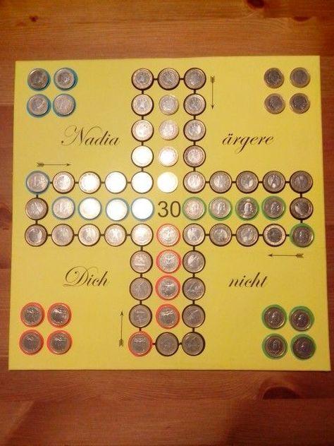 Lusitge Idee für ein Geldgeschenk - Mensch-ärger-dich-nicht mit Münzen bekleben *** Funny DIY Money Present Idea