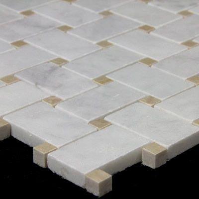 Carrara White Italian Marble Basketweave Mosaic Tile With Crema Marfil Dots Polished In 2020 Mosaic Tiles Rustic Bathroom Vanities Carrara