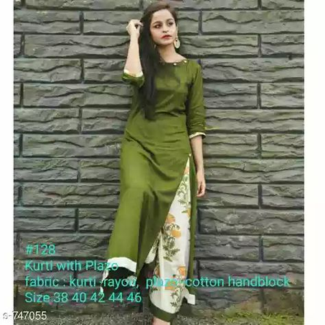Trendy Women's Kurtis Set Fabric: Kurti - Rayon , Palazzo - Cotton Sleeves: 3/4 Sleeves are Included Size: Kurti - M - 38 in , L - 40 in , XL - 42 in , XXL - 44 in, 3XL - 46 in, Palazzo - M - 28 in , L - 30 in , XL- 32 in , XXL - 34 in , 3XL - 36 in Length: Kurti - Up To 46 in , Palazzo - U To 38 in Type: Stitched Description: It Has 1 Piece Of Kurti with Palazzo  Work: Kurti - Solid , Palazzo - Hand Block Printed