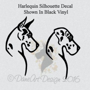 Harlequin Great Dane Head Decal With Natural Or Cropped Ears From