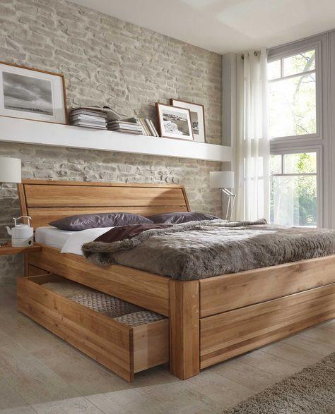 Bett mit Schubladen aus Massivholz Kiefermöbel als Einzelbett