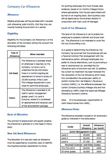 Company Car Policy Template Instant Downloadable Word