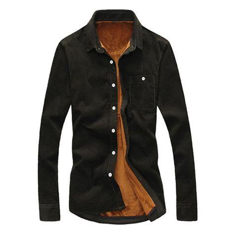 f4dbb27e63a Corduroy Velvet Liner Thick Warm Autumn Winter Slim Shirt in 2019 ...