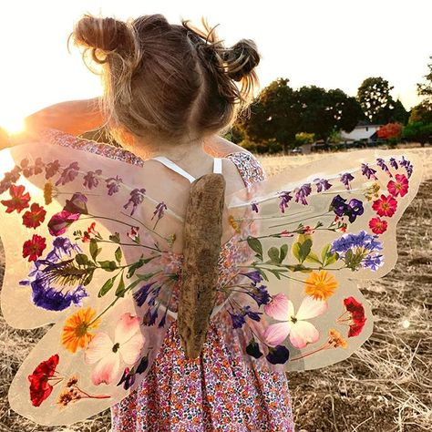 Aren't these diy butterfly wings just amazing? Using pressed, dried flowers, driftwood and contact paper Johanna and… Projects For Kids, Diy For Kids, Cool Kids, Crafts For Kids, Diy Butterfly, Butterfly Wings, Toddler Crafts, Toddler Activities, Nature Crafts