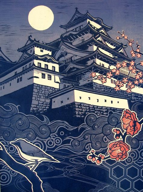 """""""Castle"""" by Taro Takizawa. This original woodblock print combines traditional and modern styles in a way I love. Not cheap, though! $200"""