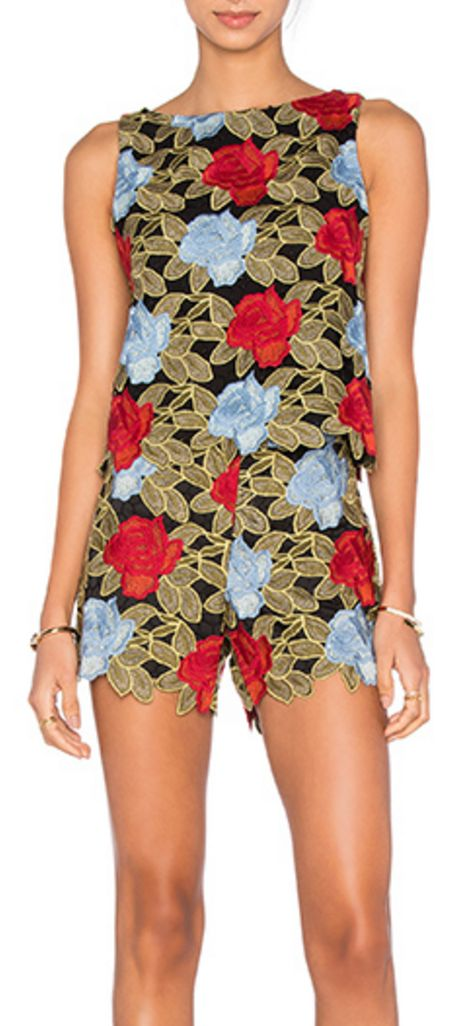 Alice + Olivia Multi-Color Lace Top and Shorts Set