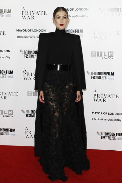 Rosamund Pike attends the European premiere of 'A Private War' & Mayor of London gala during the 62nd BFI London Film Festival.