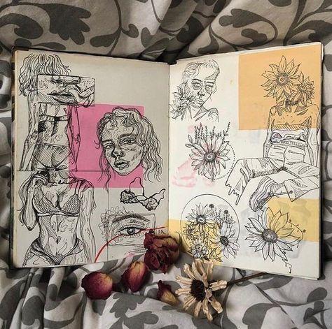 Photography sketchbook layout presentation Trendy ideas – A Level Art Sketchbook - Water Aesthetic Drawing, Aesthetic Art, Aesthetic Painting, Illustration Design Graphique, Plant Illustration, Gcse Art Sketchbook, A Level Art Sketchbook Layout, Sketchbook Cover, Fashion Sketchbook