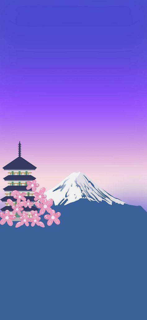 Japan Minimal Vector Art 1080X2340 FHD Wallpapers Download Free