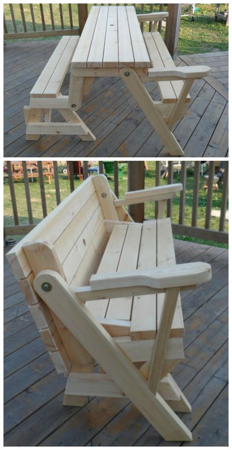 folding picnic table to bench seat - free plans, how awesome is this - fresh blueprint for building a bench