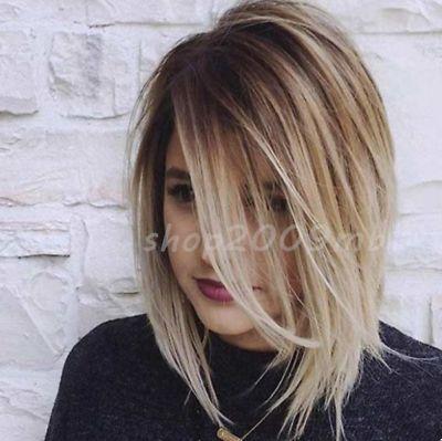 Dark Root Platinum Blonde Wig Short Bob Synthetic Hair Heat Resistant Wigs Women